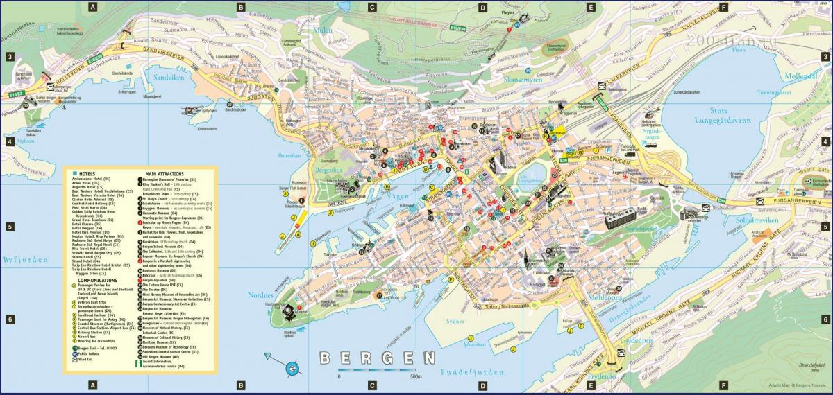 bergen Norway mapa ng lungsod